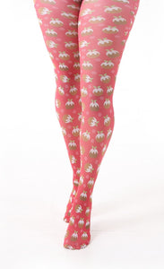 Pamela Mann Christmas Pudding Tights - Printed novelty Xmas tights with an all over Xmas pudding print pattern on a bright red background.