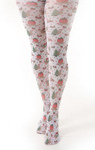 Pamela Mann Christams Sloth Tights - Novelty Christams tights with sloths and Xmas trees and wreaths printed pattern.
