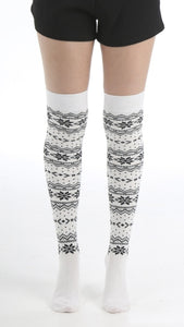 Pamela Mann - Xmas Snowflake Over-Knee Socks - White Christmas cotton over the knee socks with black snowflakes and zig-zags fairisle style pattern.