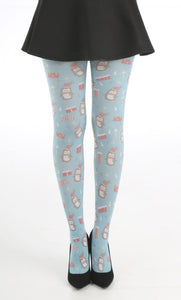 Pamela Mann Christmas Penguin Tights - Printed Christmas tights with a cute all over illustrated penguins, presents and stars print on a bright turquoise blue background.