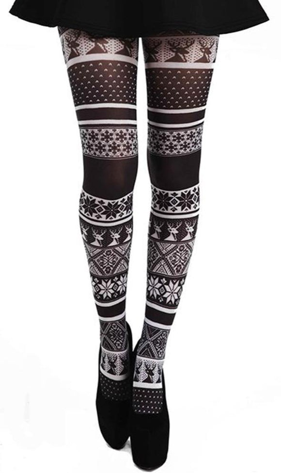 Pamela Mann Fairisle Tights - White semi-opaque tights with a black fairisle print pattern of reindeers and snowflakes. Perfect for Christmas.