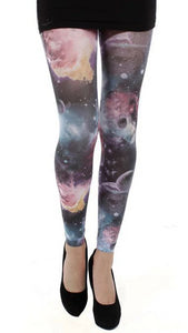 Pamela Mann Galactic Footless Tights - multicoloured galaxy print footless tights