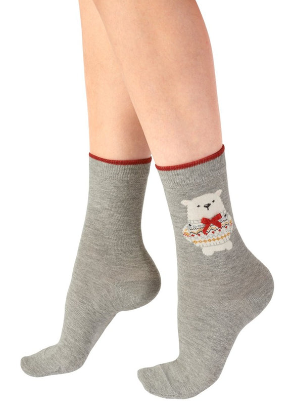 Pretty Polly - Polar Bear Ankle Socks - Light grey cotton mix Christmas ankle socks with a cute polar bear wearing a red satin bow and sparkly lurex fairisle style patterned sweater.
