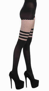 Pamela Mann Fishnet Over The Knee Sock Tights - black faux over knee tights with mesh top and stripes