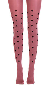 Zohara R665-DSB Be Still My Heart - Pale pink cotton mix tights with black heart pattern print