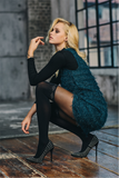SiSi 1620 Rombi Collant - black fashion mock over the knee sock tights with silver diamond print