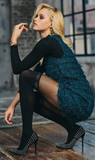 SiSi 1620 Rombi Collant - black fashion faux over the knee sock tights with silver diamond print