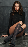 SiSi 1600 Scozzese Gambaletto - black opaque fashion knee-high socks with sheer diamond pattern