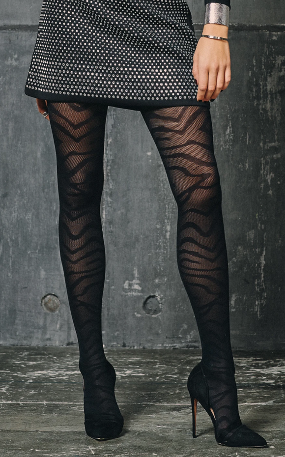 SiSi 1617 Zebrato Collant - black fashion tights with zebra animal print pattern