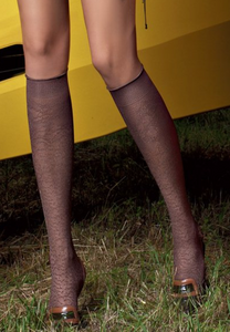 Omsa 3315 Animalier Gambaletto - enclosed micro fishnet knee-high fashion socks with animal print pattern, available in brown and taupe