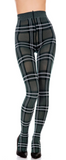 Trasparenze Gutturnio Collant - dark green opaque fashion tights with a white woven tartan pattern