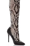 Trasparenze Marsala Gambaletto - cream opaque fashion knee-high sock with a black woven snake print pattern and black deep comfort cuff.