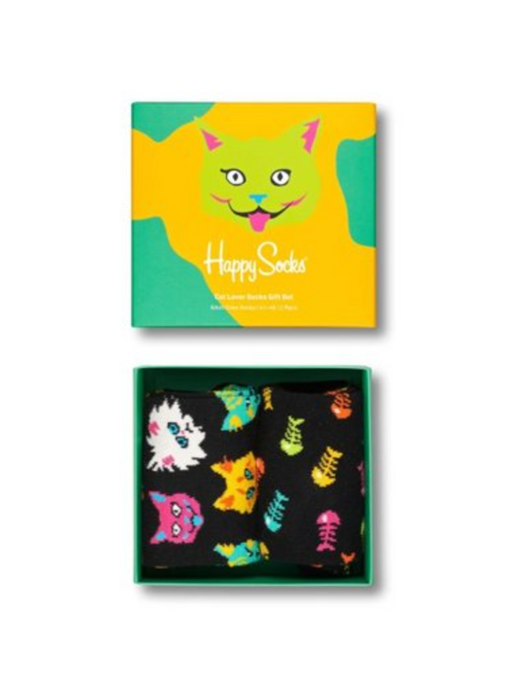 Happy Socks XCAT02-6301 Cat Lover Box Set - Gift box with two pairs of socks for cat lovers. One pair is black with multicoloured cats and the other is black with multicoloured fish bones pattern. Available in men and women size.