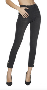Ysabel Mora 70246 Black Jeggings - Mid rise denim leggings with a side slit opening cuff, pearl pin closer with silver stud end, rear pockets, belt loops and faux front pocket and fly stitching.