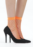 Pamela mann - Extra Large Net Ankle Socks - bright neon orange wide fishnet socks