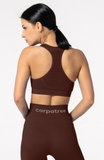 Carpatree Phase Seamless Bra - Burgundy seamless sports bra with removable padding and razor back with crochet style detail.