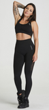 Carpatree Phase Seamless Leggings - Black high waisted seamless leggings made of thick stretch fabric with ventilating mesh side panels.