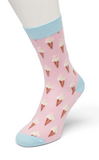 Bonnie Doon BD04,11,20 Vanilla Ice Sock - Fun light pastel pink cotton ankle socks with an ice-cream cone pattern and light blue toe, heel and cuff.