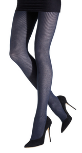 Emilio Cavallini Ribbed Viscose/Cashmere Tights - soft and warm thermal Winter knitted tights in navy