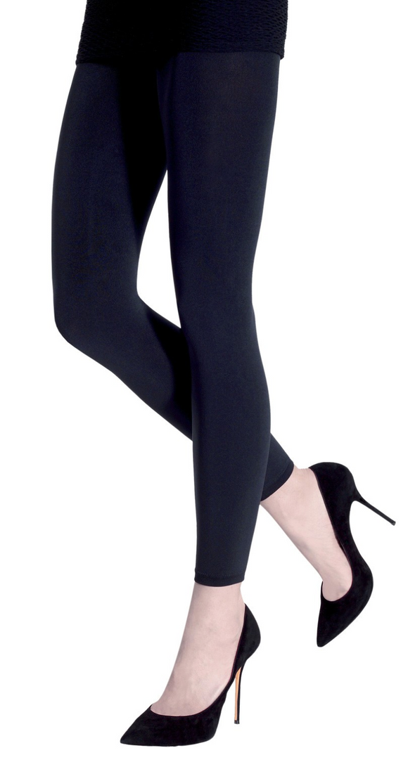 Emilio Cavallini Super Opaque Leggings - 200 denier matte footless tights in navy