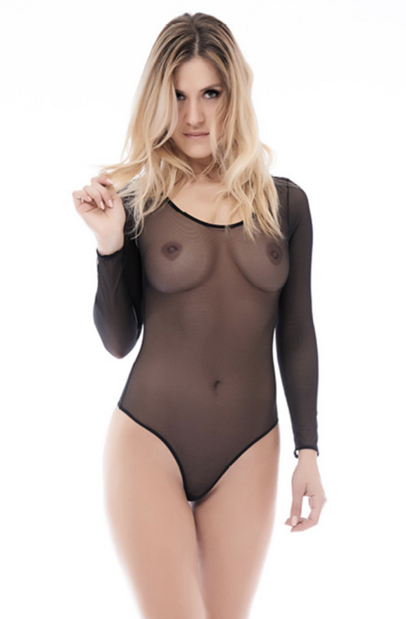 Foly 3259 Britney Bodysuit - black micro mesh tulle long sleeved body-top