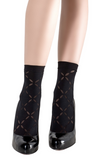 Emilio Cavallini 5C32.5.52 Soft Diamond Sock - black opaque fashion ankle socks with sheer diamond pattern