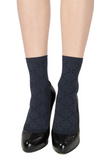Emilio Cavallini 5C32.5.52 Soft Diamond Sock - navy blue opaque fashion ankle socks with sheer diamond pattern