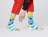 Happy Socks BRH01-6300 Broken Heart Sock - women's light blue cotton socks with hearts and daggers in red and yellow