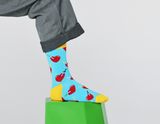 Happy Socks BRH01-6300 Broken Heart Sock - men's light blue cotton socks with hearts and daggers in red and yellow