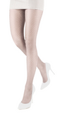 Emilio Cavallini 5619.1.88 All Over Dot Tights - white micro mesh fashion tights with polka dot spot pattern
