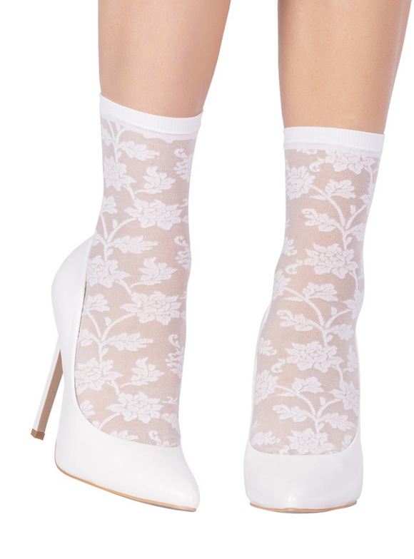 Emilio Cavallini 5D96.5.8 Fiordaliso Socks - white floral lace fashion ankle socks