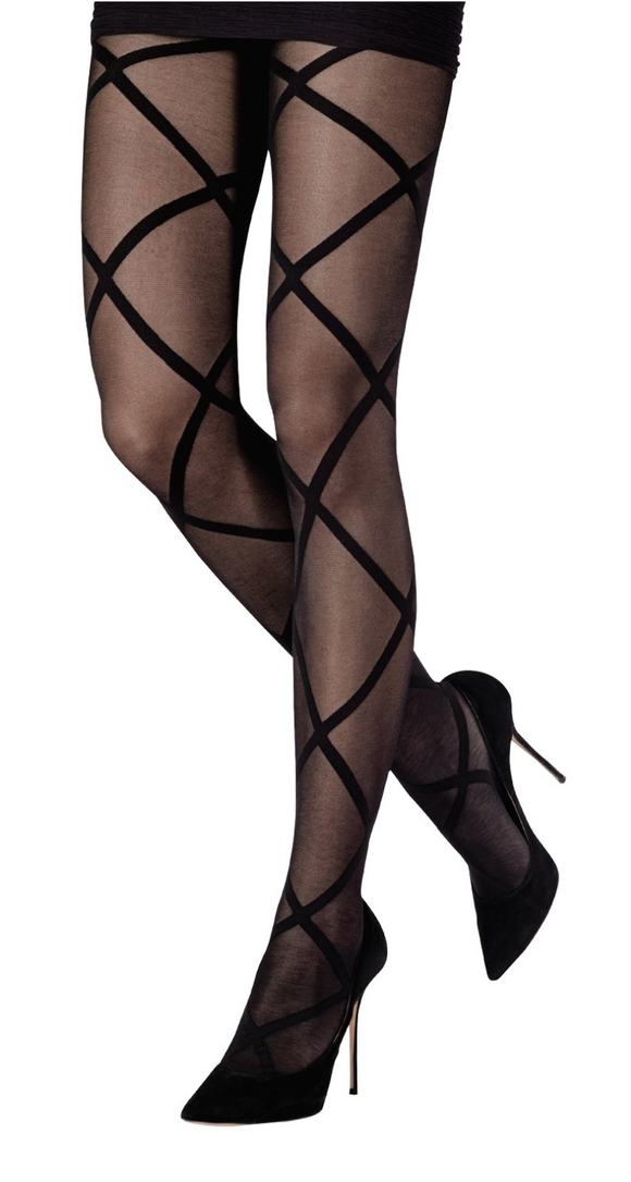 Emilio Cavallini 5646.1.88 Interlacement Tights - black criss-cross diamond pattern fashion tights