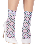 Emilio Cavallini 5D98.5.53 Prism Socks - geometric diamond pattern fashion ankle socks in light pink, blue, black and nude