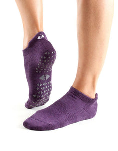 TaviNoir Savvy - purple low ankle cotton yoga and pilates socks with gripper sole. Available in both men and women sizes
