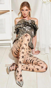 Trasparenze Durian Collant - sheer nude tights with black stars pattern