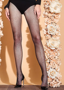 Trasparenze Gardenia Collant - sparkly glitter micro fishnet tights with lurex, available in black/gold, black/silver and nude/gold
