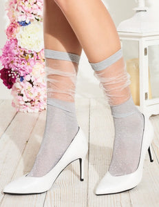 Trasparenze Lavender Calzino - sparkly lam̩ ankle socks with sheer tulle style scrunch cuff