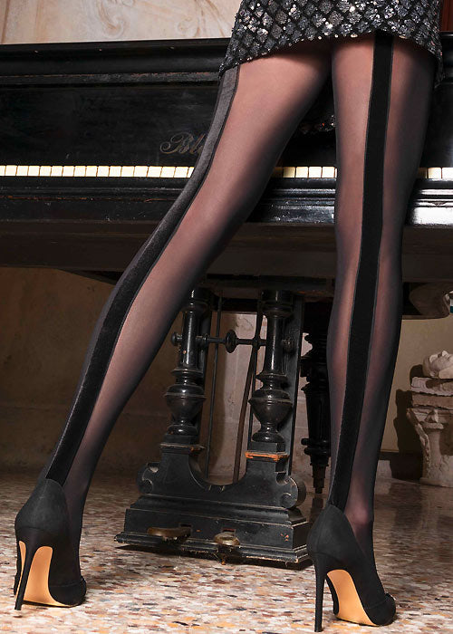Trasparenze Sirena Collant - Black micro stretch tulle tights with a velvet back seam panel.