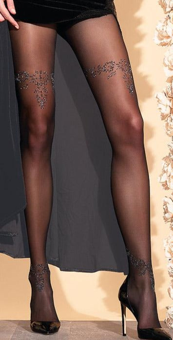 Trasparenze Snowdrop Collant - Black micro mesh fashion tights with a woven floral design on the thighs and ankles in sparkly metallic gold, flat seams and hygienic gusset.