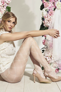 Trasparenze Pesca Collant - Openwork fishnet tights with a diamond and flower design. Available in petrol blue and cream.