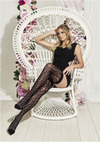 Trasparenze Uva Autoreggente - Black openwork animal print style mesh thigh high hold-ups with silicone to help them to stay-up.
