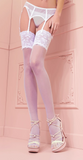 Trasparenze Eleonora Calze - sheer 30 denier stockings with deep lace top in black and ivory, perfect bridal hosiery