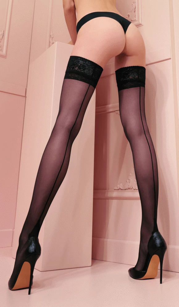 Trasparenze Pennac Autoreggente - sheer hold-ups /stay-ups with a black back seam, cuban heel and black lace top, available in black and nude (cosmetic)