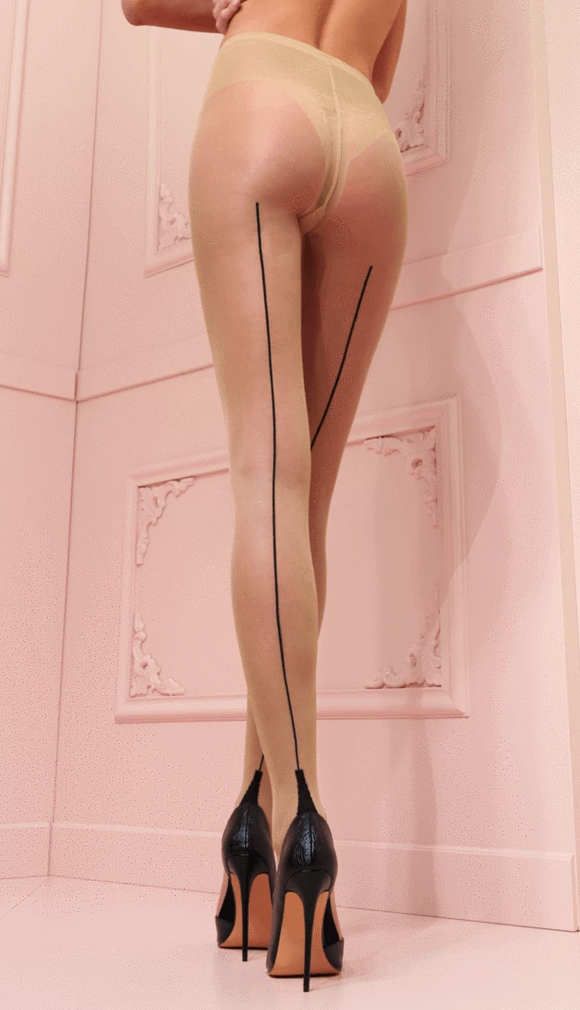 Trasparenze Pennac Collant - nude tights with a black back seam and cuban heel