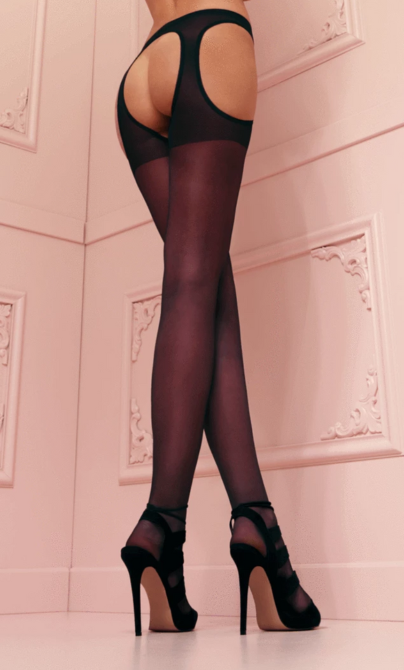 Trasparenze Scandal Strip Panty - sheer suspender tights / open crotch tights in black and nude
