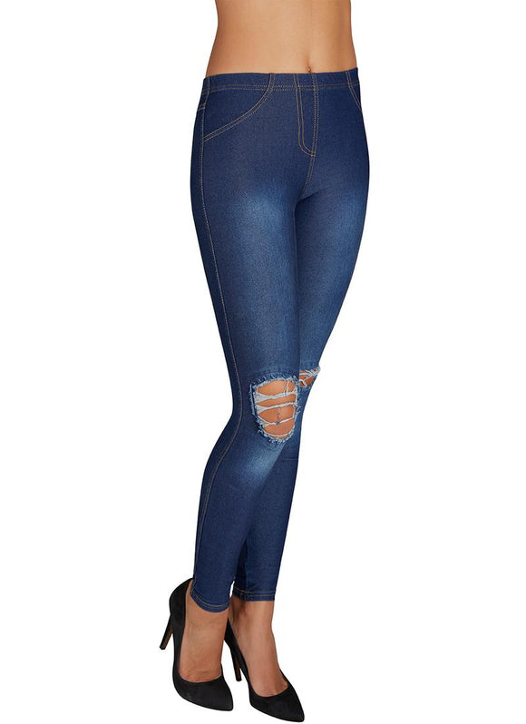 Ysabel Mora - 70213 Ripped Distressed Jeans - dark denim blue stretch cotton jeans/jeggings, available in sizes S,M, L and XL