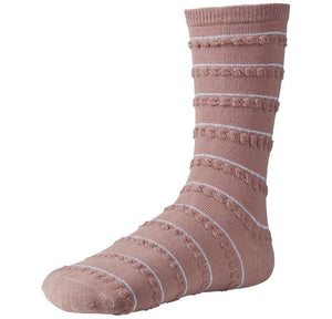Ysabel Mora 12607 - pale pink cotton ankle socks with silver and ruched horizontal stripes