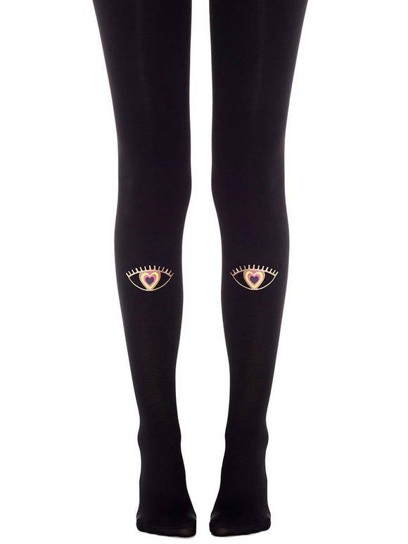 ZOHARA LOVELY SIGHT BLACK TIGHTS F516-BMC - black opaque tights with gold eyes with heart pupils