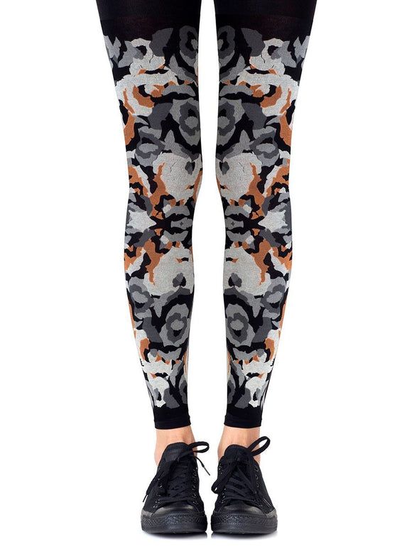 Zohara CR428-BGO Earth Goddess Footless Tights - Black opaque fashion footless tights with a swirl camouflage style print in shades of grey and rust orange.