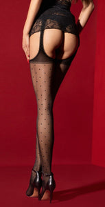 Fiore Amore Mio O5030 - Sheer black suspender tights with a small spot pattern open sides and crotchless with a scalloped edge.